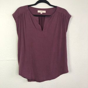 LOFT (M) Dark Purple Notched Neckline Top